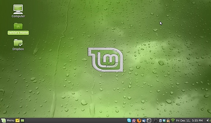 Linux Mint 7 homescreen